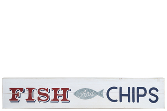 "UTC17507 Wood Rectangle Wall Art with ""FRESH and CHIPS"" Printed Distressed Finish White"