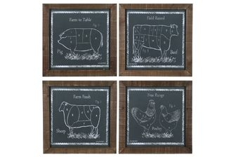 "UTC17509-AST Wood Square Wall Art with Natural Frame and ""Farm Raise Animal Theme"" Assortment of Four Coated Finish Gray"