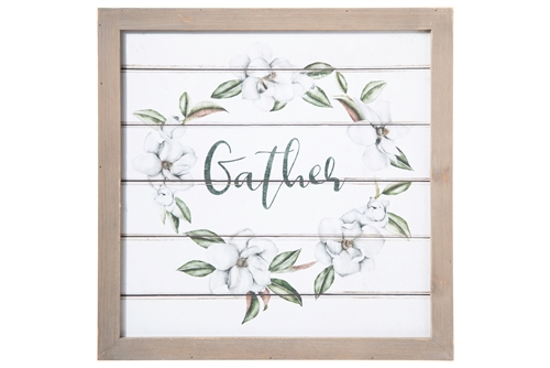 "UTC17523 Wood Square Wall Art with Frame, Printed ""Gather"" and Petals Design Painted Finish White"