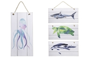 "UTC17524-AST Wood Rectangle Wall Art with Top Rope Hanger and Colored Printed ""Marine Creatures"" Assortment of Four Painted Finish White"