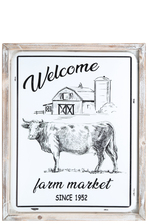 "UTC17704 Metal Rectangle Wall Art with Washed Frame and ""Welcome Farm Fresh Since 1952"" Printed Coated Finish White"