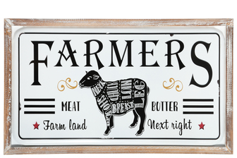 "UTC17707 Metal Rectangle Wall Art with Frame and ""FARMERS"" Printed Coated Finish White"