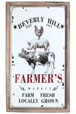 "UTC17708 Metal Rectangle Wall Art with Wood Frame and ""BEVERLY HILL FARMERS"" Printed Coated Finish White"