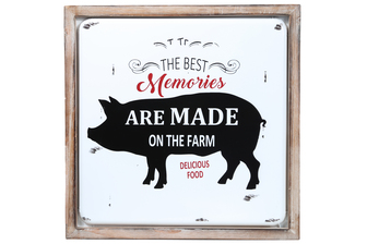 "UTC17709 Metal Square Wall Art with Wood Frame and ""THE BEST MEMORIES ARE MADE ON THE FARM"" Printed Coated Finish White"