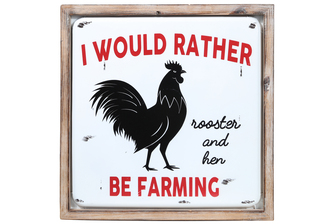 "UTC17710 Metal Square Wall Art with Wood Frame and ""I WOULD RATHER BE FARMING"" Printed in Red Coated Finish White"