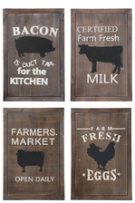 "UTC17715-AST Wood Rectangle Wall Art with Printed ""Farm Animals Theme"" Assotment of Four Natural Finish Brown"