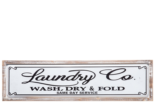 "UTC17716 Metal Rectangle Wall Decor with Wooden Frame and Embossed Printed ""Laundry Co"" Painted Finish White"