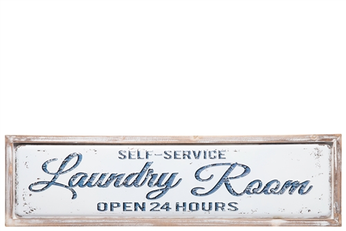 "UTC17717 Metal Rectangle Wall Decor with Wooden Frame and Embossed Printed ""Laundry Room"" Distressed Finish White"