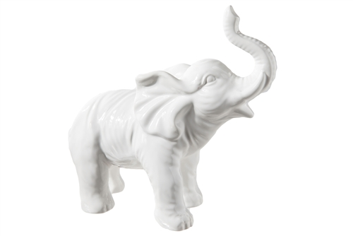 UTC18500 Ceramic Standing Elephant Figurine in Raising Trunk Position Gloss Finish White