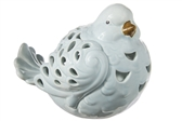 UTC18909 Ceramic Sitting Bird Figurine with Brown Beak and Cutout Design Body Gloss Finish Baby Blue