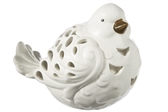 UTC18910 Ceramic Sitting Bird Figurine with Brown Beak and Cutout Design Body Gloss Finish White