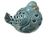 UTC18911 Ceramic Sitting Bird Figurine with Brown Beak and Cutout Design Body Gloss Finish Blue