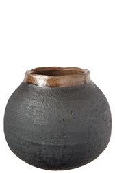 UTC19202 Ceramic Round Bellied Vase with Brown Banded Irregular Lip and Rough Design Body LG Matte Finish Gray