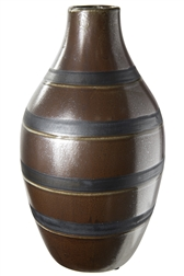 UTC19206 Ceramic Round Bellied Vase with Narrow Lip and Black Banded Stripes Design Body LG Gloss Finish Brown
