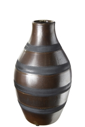 UTC19207 Ceramic Round Bellied Vase with Narrow Lip and Black Banded Stripes Design Body MD Gloss Finish Brown