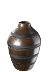 UTC19208 Ceramic Round Bellied Vase with Narrow Lip and Black Banded Stripes Design Body SM Gloss Finish Brown