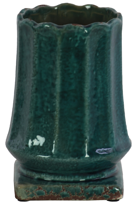 UTC20222 Ceramic Round Vase with Patterned Lip and Body on Squaare Base LG Distressed Gloss Finish Blue