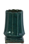 UTC20223 Ceramic Round Vase with Patterned Lip and Body on Squaare Base SM Distressed Gloss Finish Blue