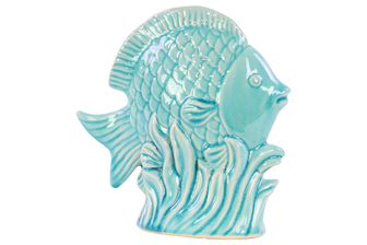 UTC20606 Ceramic Fish Figurine on Seagrass Base Gloss Finish Turquoise
