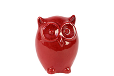 UTC20812 Ceramic Standing Owl Figurine SM Gloss Finish Red