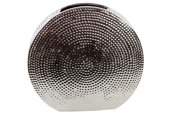 UTC21204 Ceramic Round Vase Dimpled Polished Chrome Finish Silver