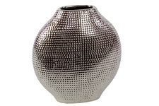 UTC21207 Ceramic Bellied Eliptical Vase Dimpled Polished Chrome Finish Silver