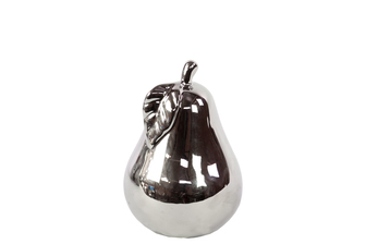UTC21214 Ceramic Pear Figurine SM Polished Chrome Finish Silver