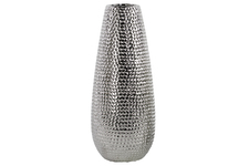 UTC21232 Ceramic Round Vase LG Dimpled Polished Chrome Finish Silver