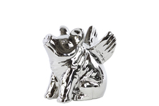 UTC21238 Ceramic Sitting Winged Pig Figurine SM Polished Chrome Finish Silver