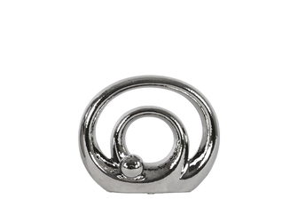 UTC21246 Ceramic Double Circle Abstract Sculpture on Base SM Polished Chrome Finish Silver