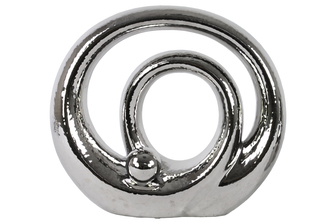 UTC21247 Ceramic Double Circle Abstract Sculpture on Base LG Polished Chrome Finish Silver