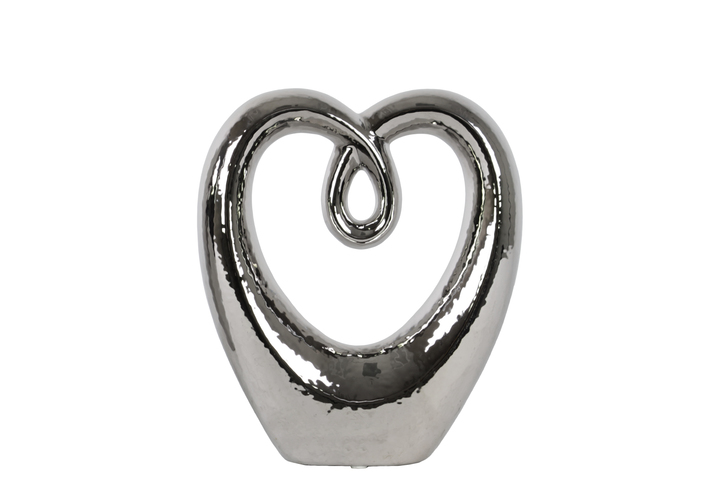 UTC21248 Ceramic Heart Abstract Sculpture on Base SM Polished Chrome Finish Silver