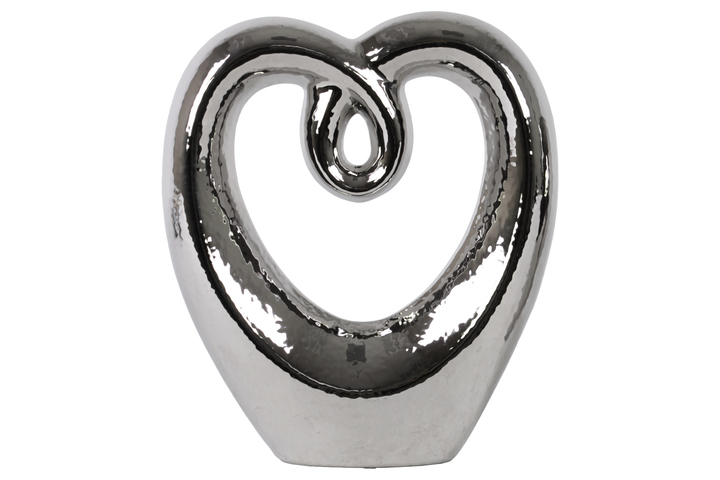 UTC21249 Ceramic Heart Abstract Sculpture on Base LG Polished Chrome Finish Silver