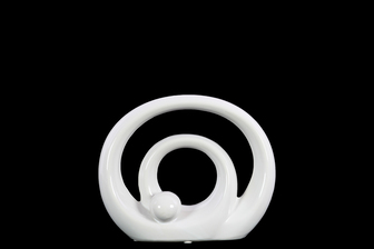 UTC21260 Ceramic Double Circle Abstract Sculpture on Base SM Gloss Finish White