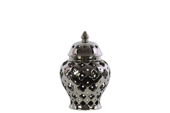 UTC21279 Ceramic Urn Vase with Cutout Quatrefoil Design Body and Tapered Bottom SM Polished Chrome Finish Silver
