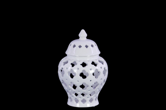 UTC21280 Ceramic Urn Vase with Cutout Quatrefoil Design Body and Tapered Bottom SM Coated Finish White
