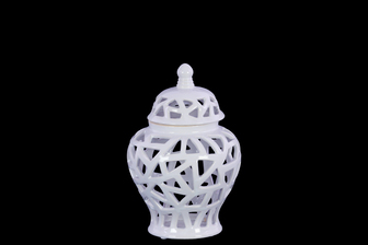 UTC21284 Ceramic Urn Vase with Cutout Triangle Design Body and Tapered Bottom SM Coated Finish White
