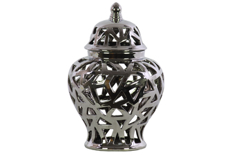 UTC21285 Ceramic Urn Vase with Cutout Triangle Design Body and Tapered Bottom LG Polished Chrome Finish Silver