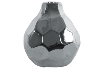 UTC21288 Ceramic Bellied Round Vase with Short Neck, Patterned Design Body and Tapered Bottom LG Polished Chrome Finish Silver
