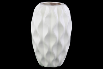 UTC21401 Ceramic Round Vase with Tapered Bottom and Embossed Wave Design Matte Finish White