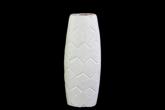 UTC21403 Ceramic Oval Vase with Embossed Hexagonal Design Matte Finish White