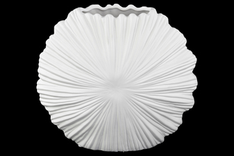 UTC21405 Ceramic Elliptical Vase with Embossed Sunburst Clam Seashell Design Body Matte Finish White