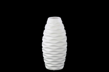 UTC21406 Ceramic Round Bellied Vase with Embossed Wave Design SM Matte Finish White