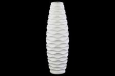 UTC21407 Ceramic Round Bellied Vase with Embossed Wave Design LG Matte Finish White