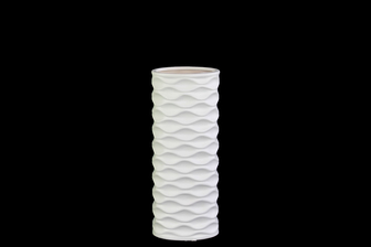 UTC21408 Ceramic Round Cylindrical Vase with Embossed Wave Design SM Matte Finish White