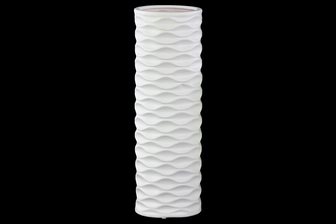 UTC21409 Ceramic Round Cylindrical Vase with Embossed Wave Design LG Matte Finish White