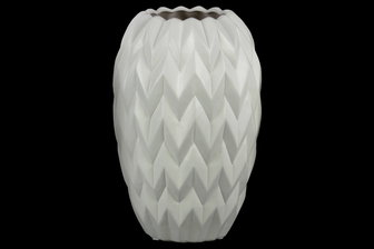 UTC21411 Ceramic Round Vase with Round Lip, Embossed Wave Design and Rounded Bottom LG Matte Finish White