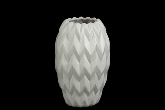 UTC21412 Ceramic Round Vase with Round Lip, Embossed Wave Design and Rounded Bottom SM Matte Finish White