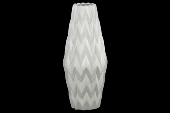 UTC21413 Ceramic Rounded Bellied Vase with Round Lip and Embossed Wave Design LG Matte Finish White