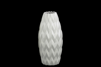 UTC21414 Ceramic Rounded Bellied Vase with Round Lip and Embossed Wave Design SM Matte Finish White